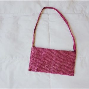 Beaded pink shoulder bag